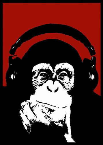 BANKSY - MONKEY HEADPHONES - Red canvas print - self adhesive poster - photo print